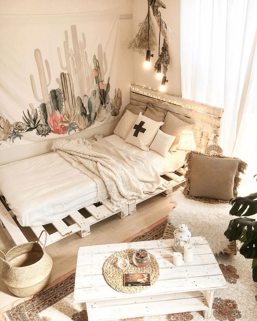 Le décor de chambre de style bohème occidental