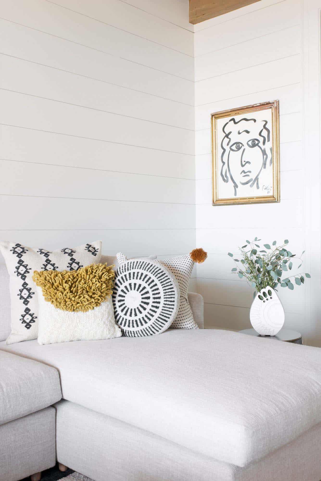 détail de canapé de style plage