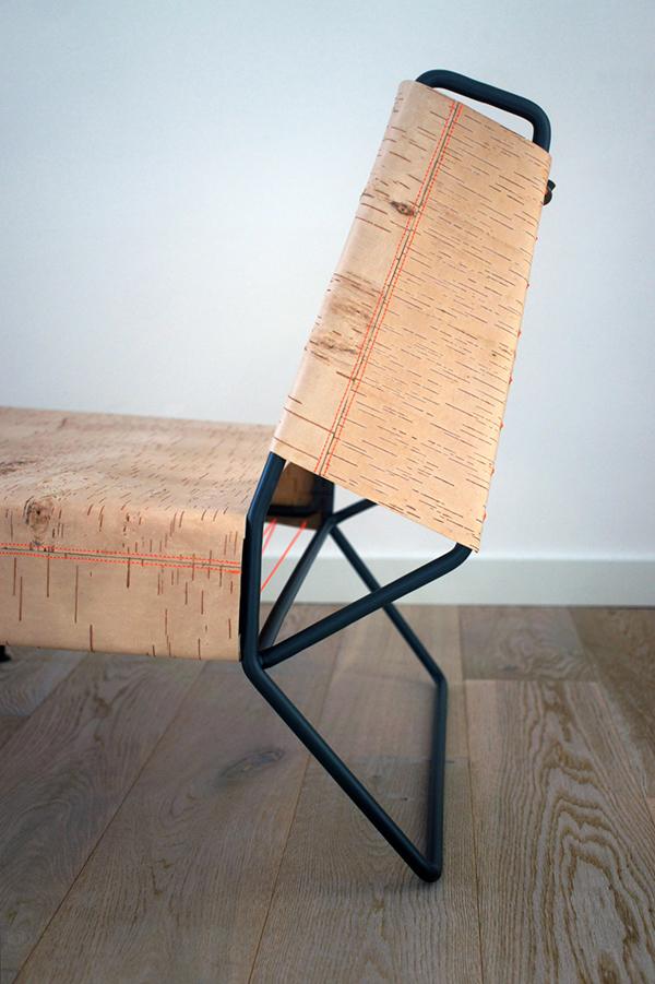 Chaise en écorce de bouleau