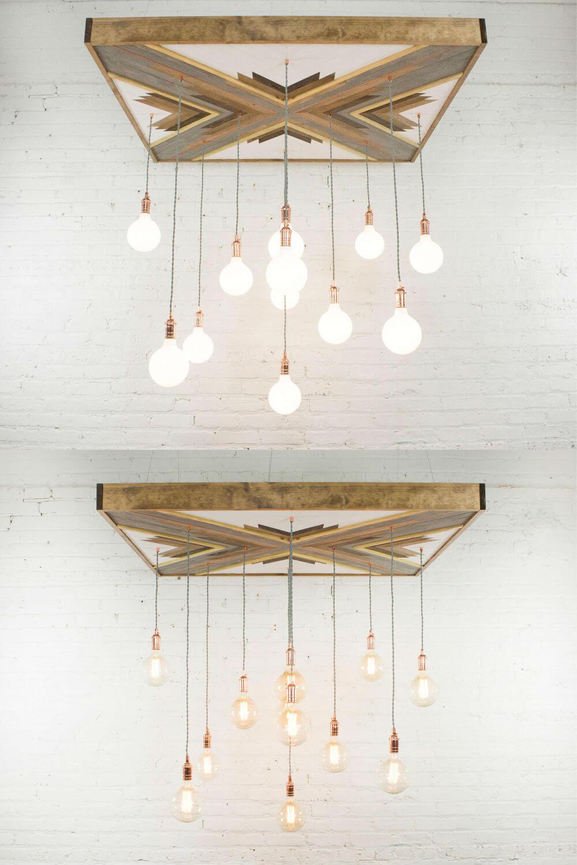 Lustre en bois récupéré avec touche artistique géométrique