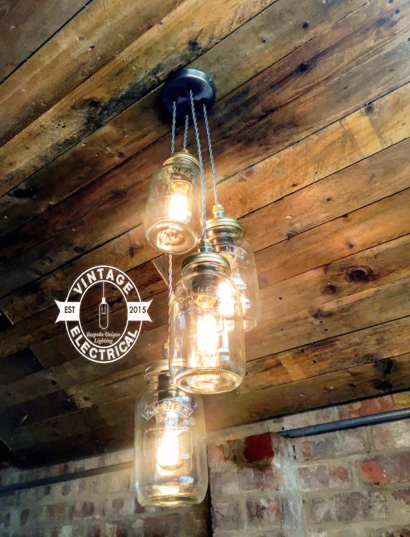 Lustre suspendu pour pot Mason à quatre ampoules