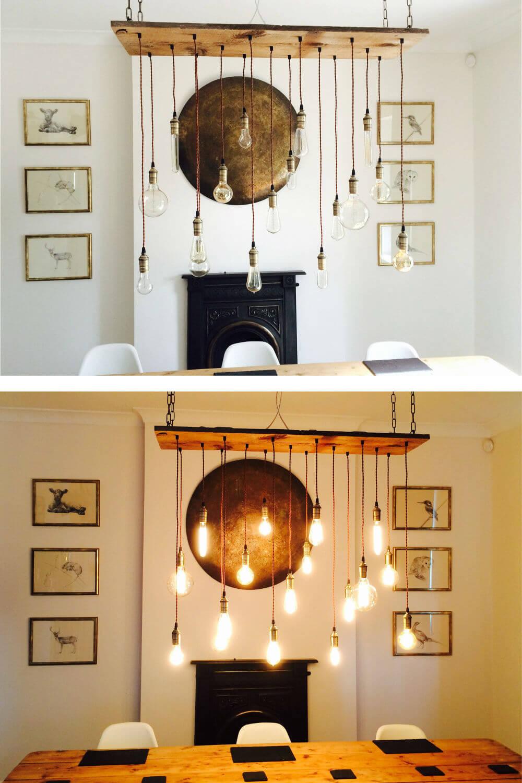 Dix-sept lumières illuminent ce lustre rustique