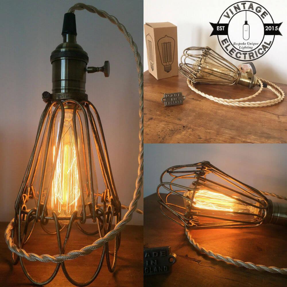 Lampe Cage Vintage Parfait pour Plafond ou Table