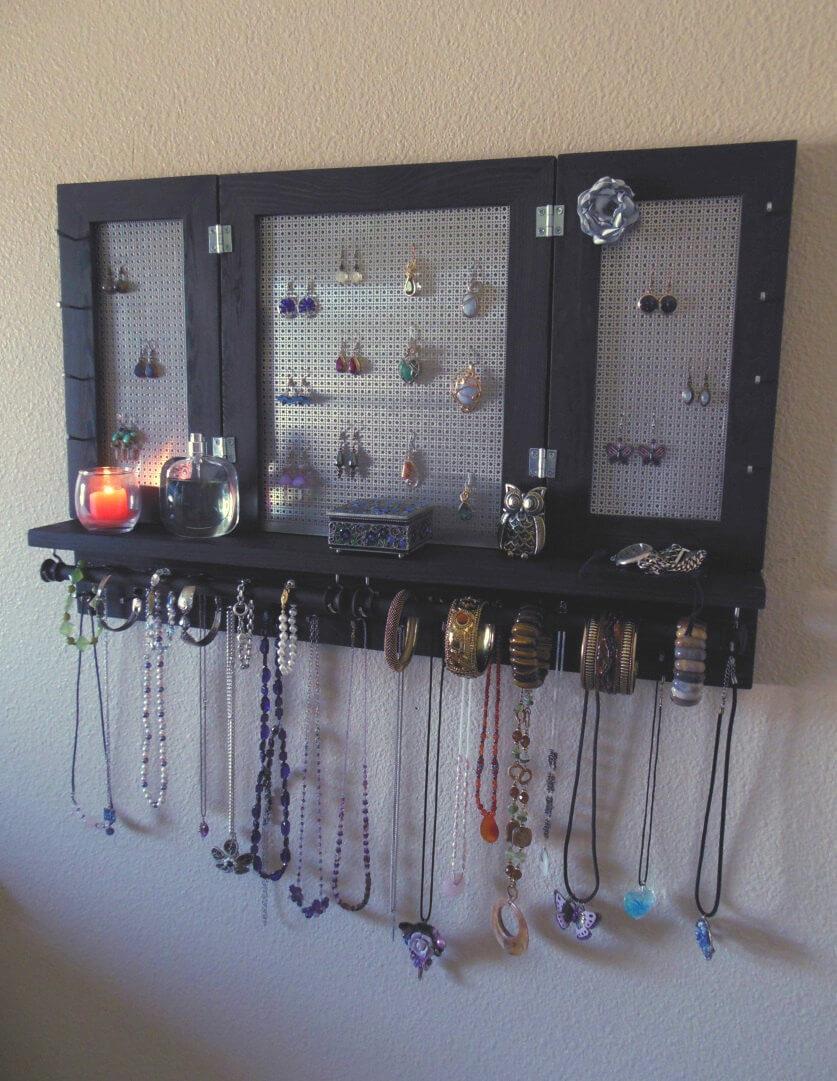 Étagère de rangement de bijoux simple avec support mural