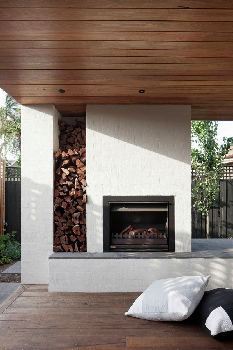Rangement de bois encastré Stepping House