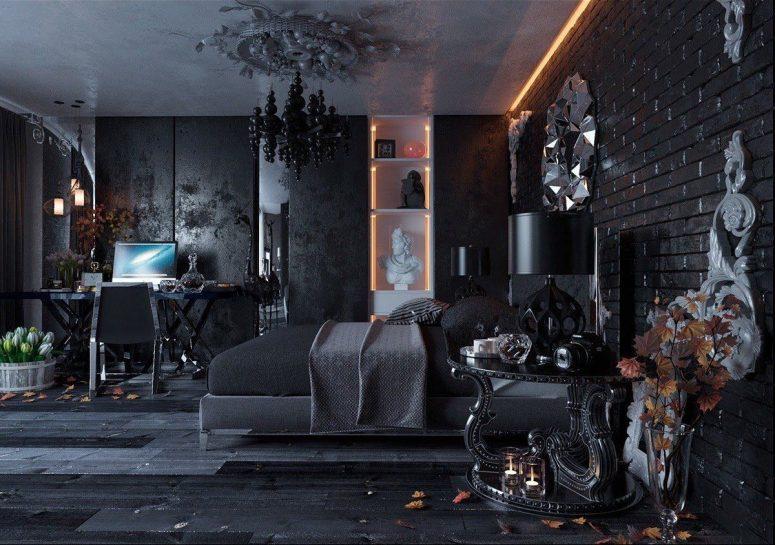 une luxueuse chambre gothique moderne avec des murs texturés et une en briques apparentes, des meubles noirs, une étagère blanche intégrée, un lustre à bulles et de nombreux détails originaux