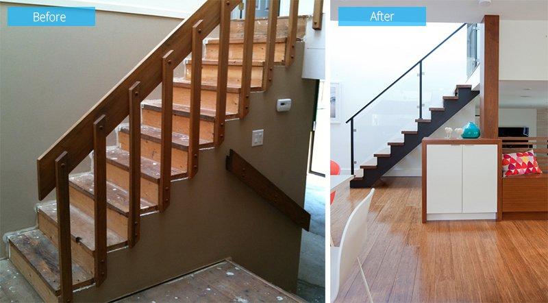 avant après les escaliers latéraux