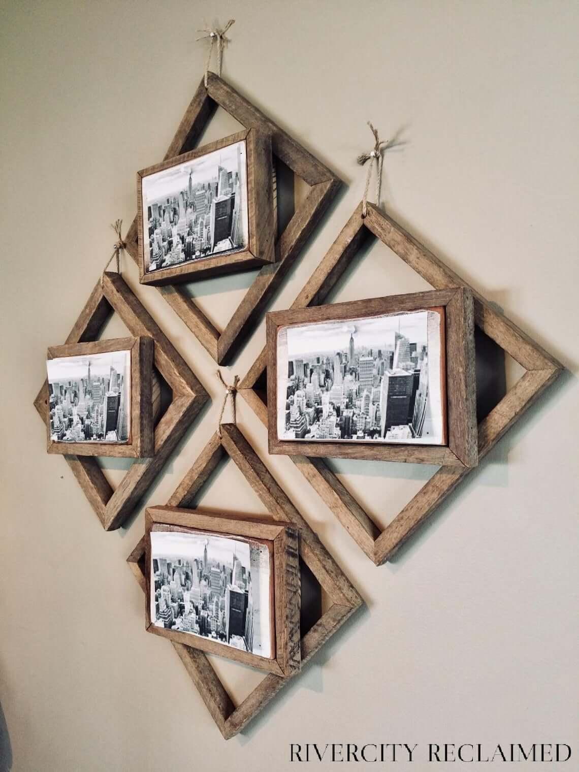 Cintres en bois géométriques dynamiques pour mur