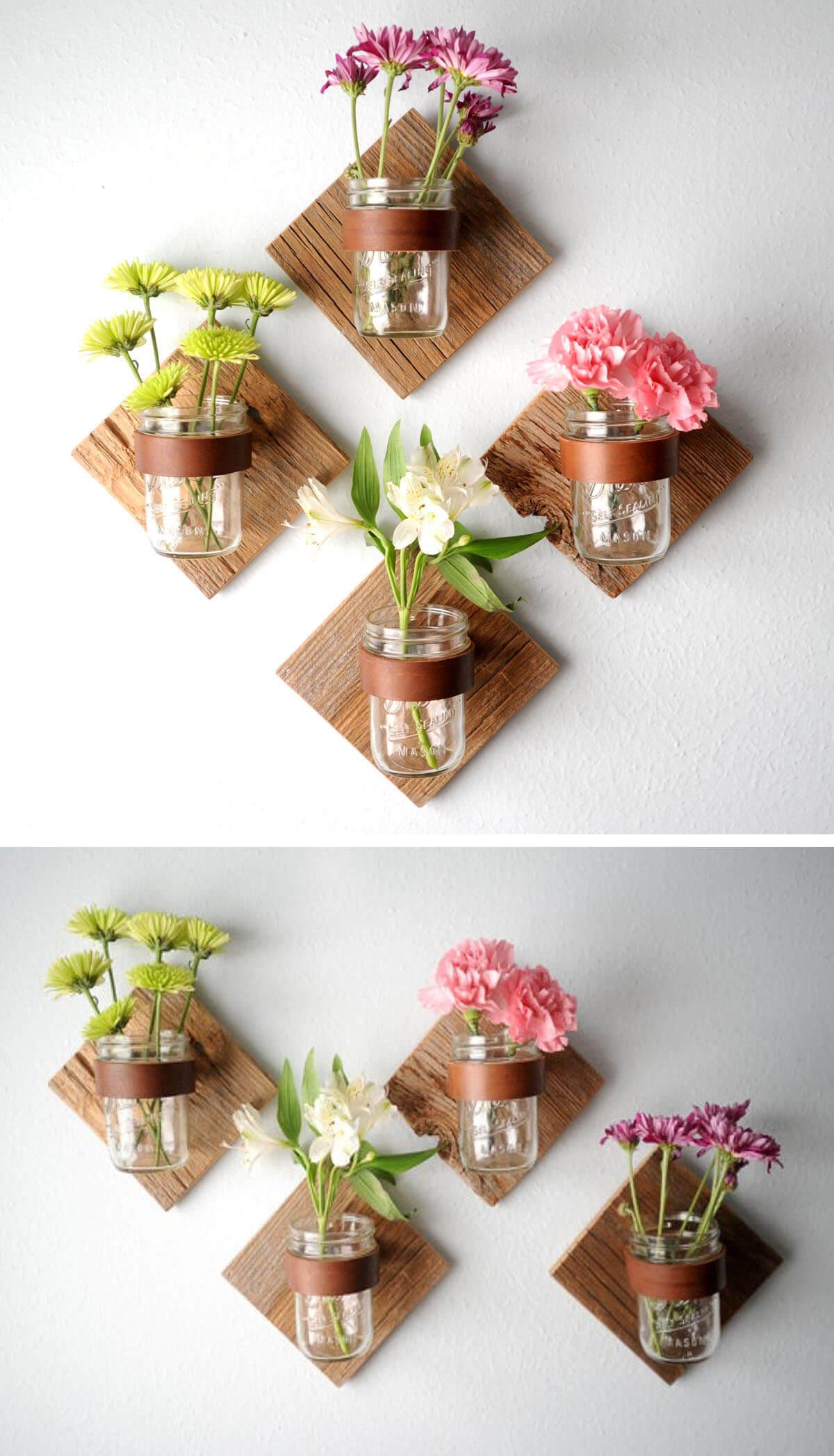 Vase à fleurs rustique Mason Jar décoration murale