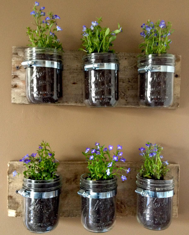 Ensemble de mur terreux à six pots Mason Jar