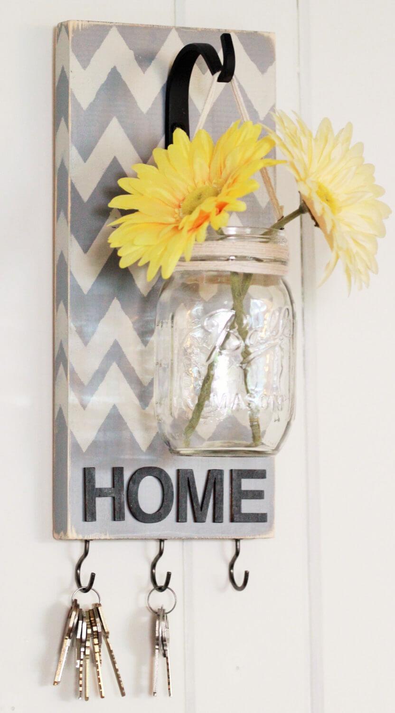 Vase à fleurs Mason Jar et crochet à clé