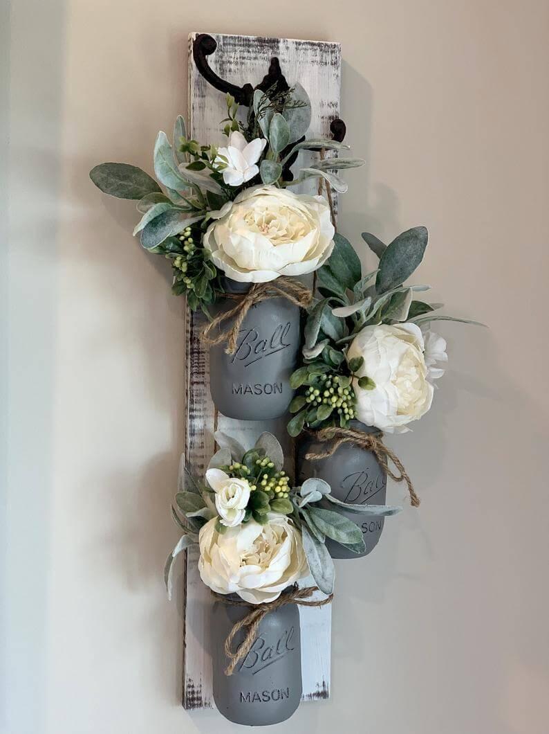 Trio de vases muraux décoratifs Mason Jar