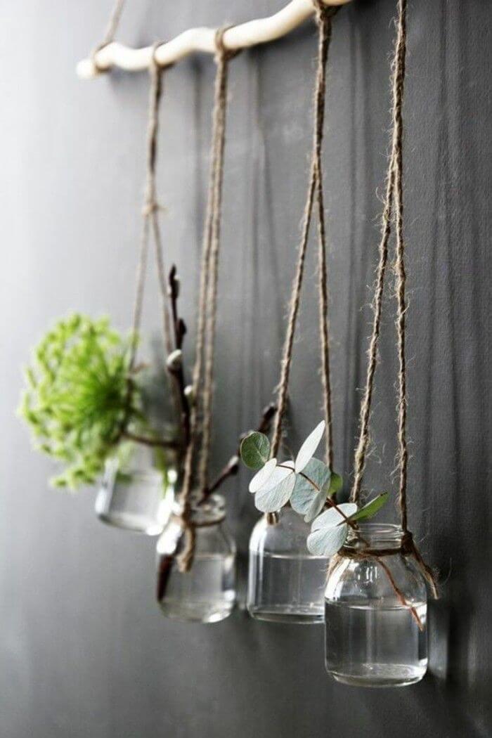 Vases à suspendre en pot Mason naturel éclectique