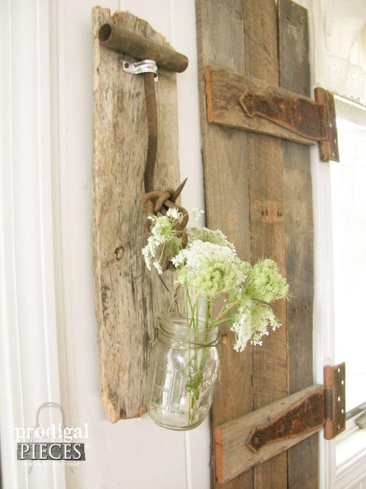 Idée de vase Mason Jar en bois vieilli rustique