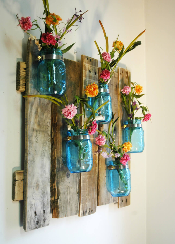 Porte-fleur en bois patiné bleu Mason Jar