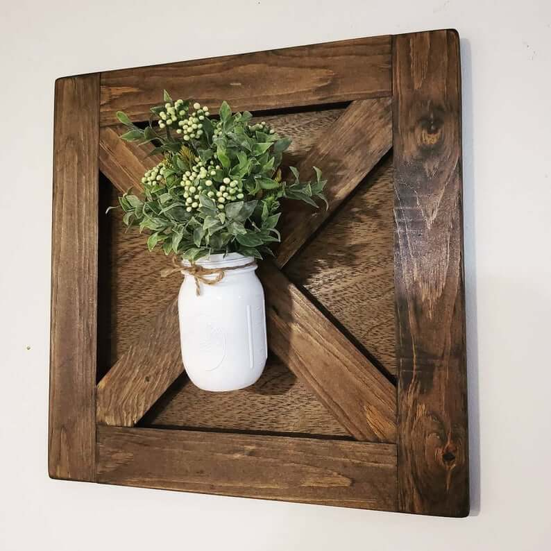 Panneau transversal en bois avec pot Mason