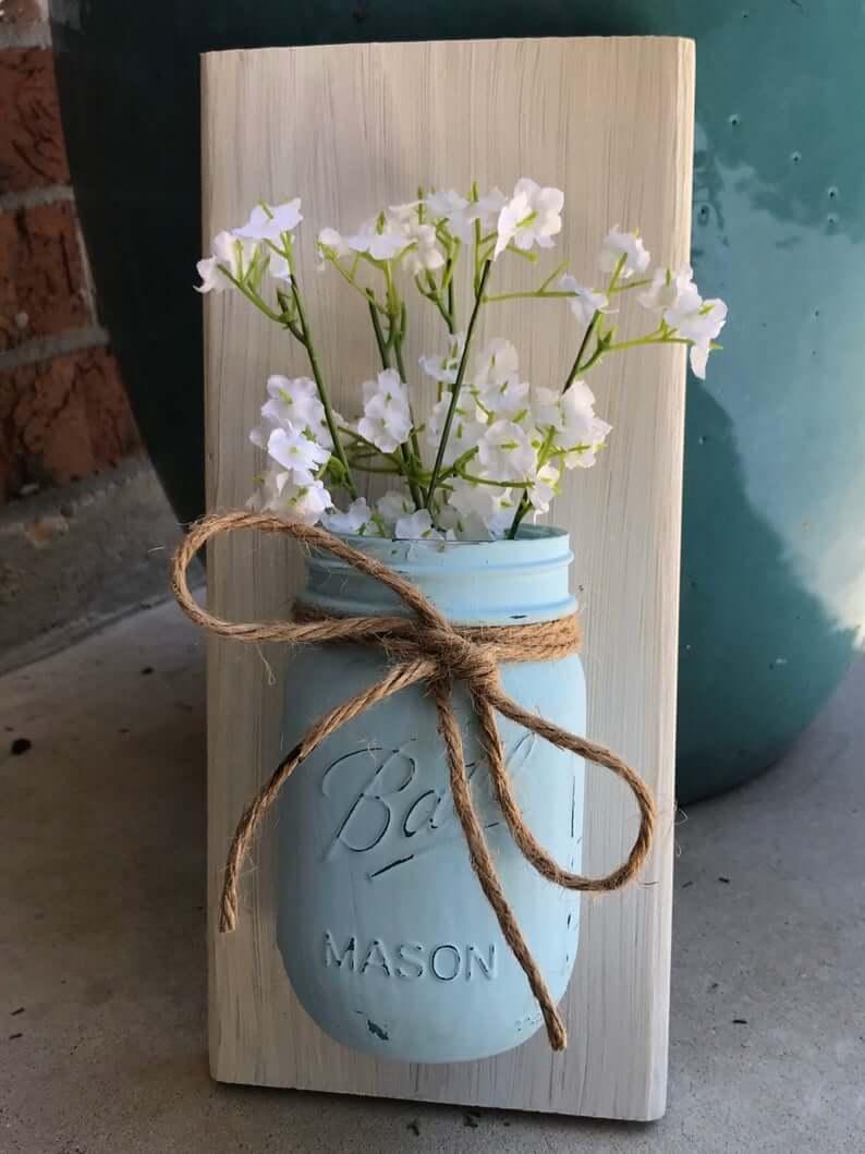 Vase Mason Jar peint à bord