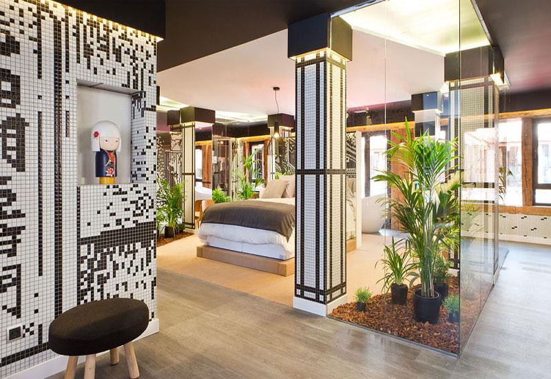 chambre à coucher jardin zen décoration plantes d'intérieur