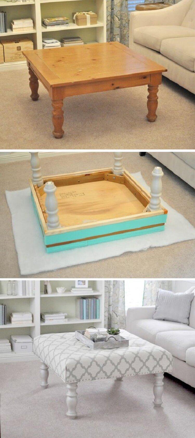 Table de canapé rembourrée en bois