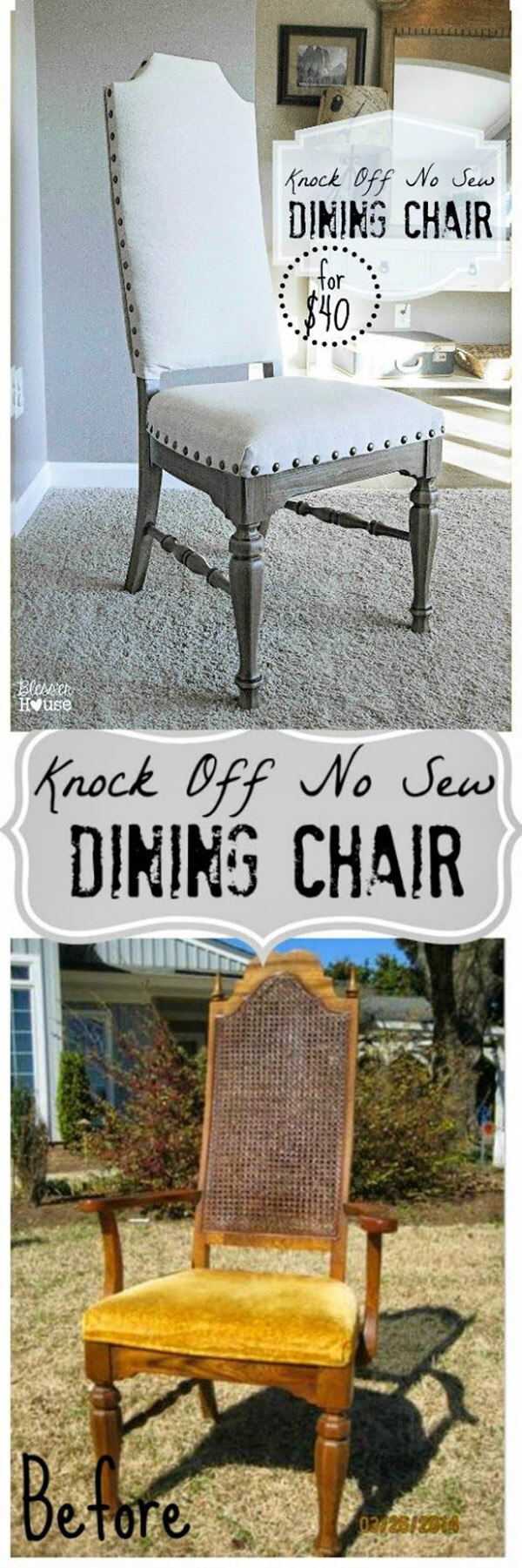 Chaise de salle à manger remodelée sans couture