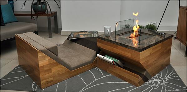 table basse avec cheminée