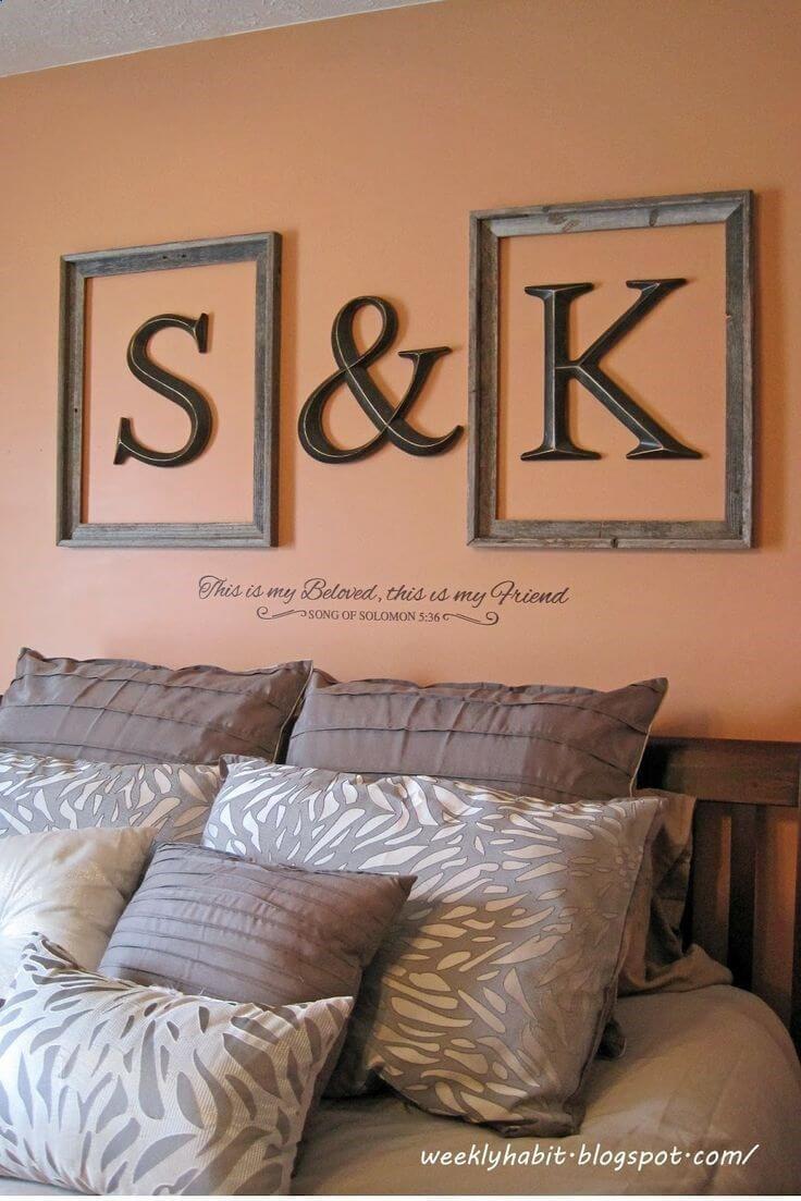 Lettres murales encadrées initiales chérie