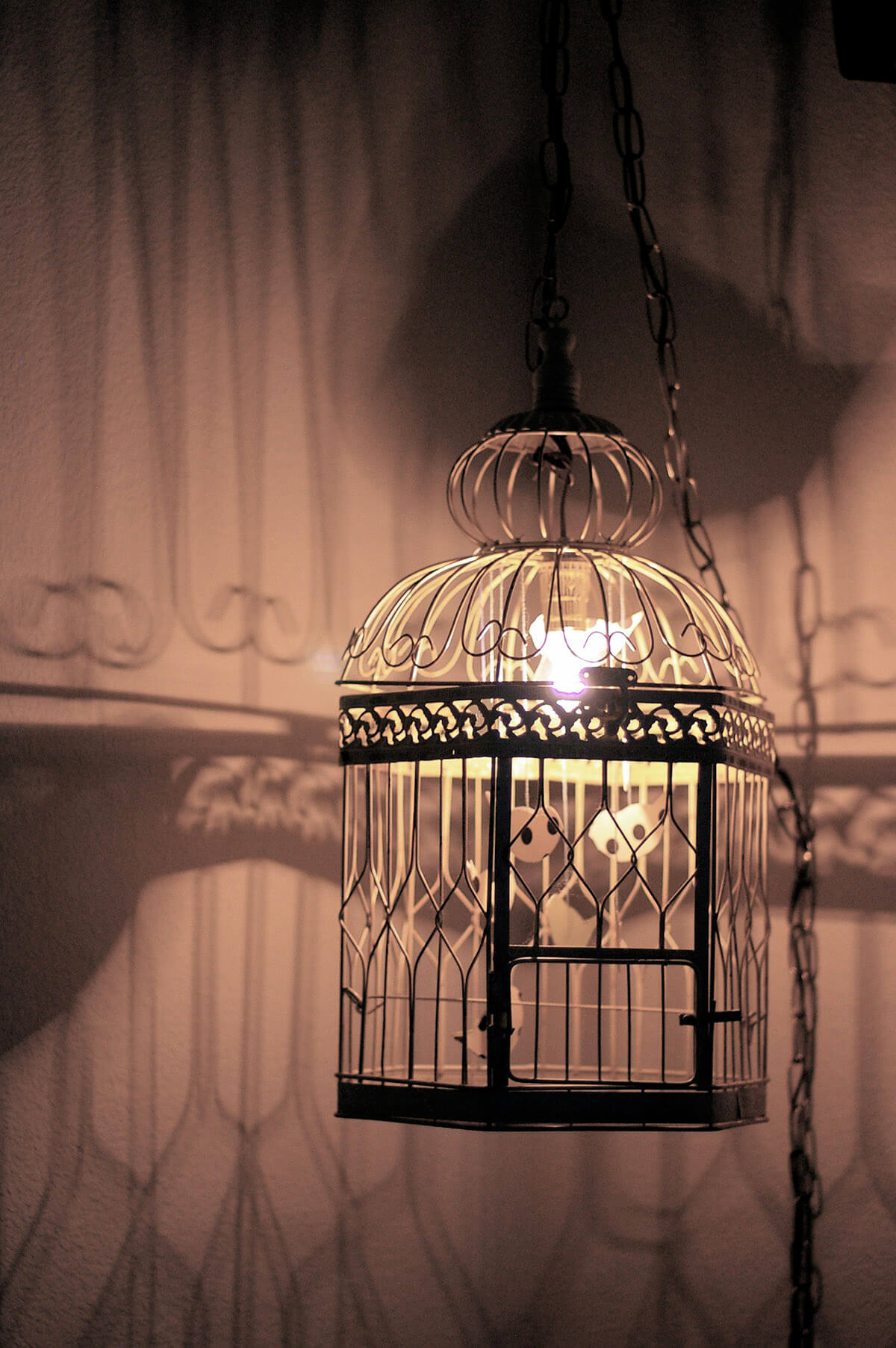 Lanterne de cage à oiseaux éclairée bricolage