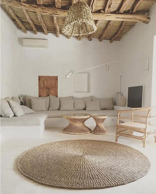 tapis rond en fibre naturelle
