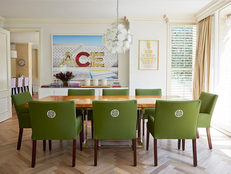Chaise de salle à manger rembourrée vert herbe