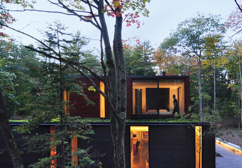 Toit vert de maison plissé