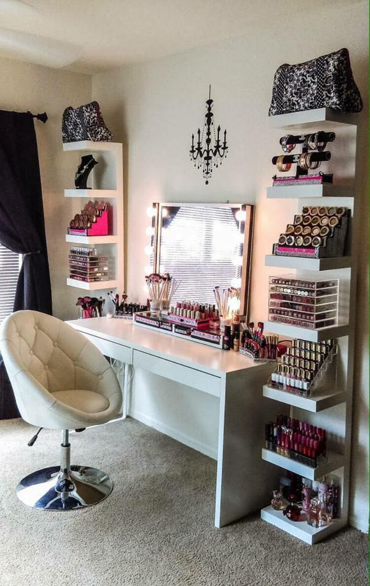 Vanité et étagères de rangement Modern Glam Makeup