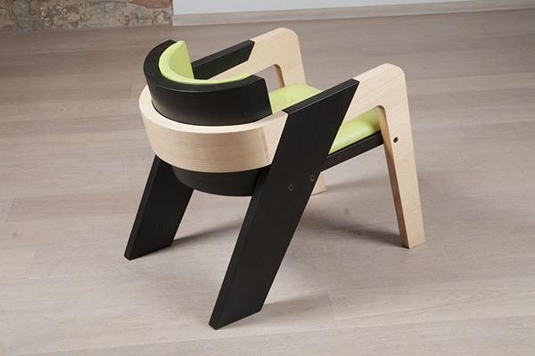 Chaise noire verte