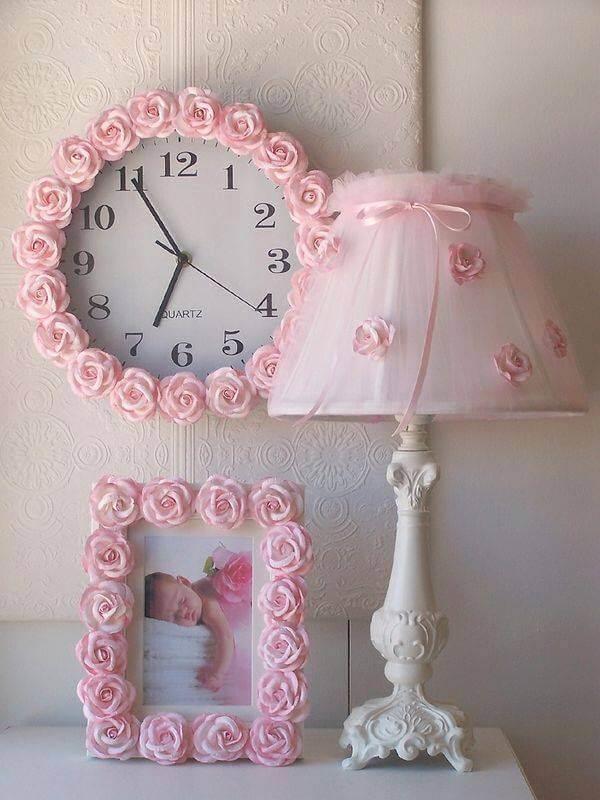 Accessoires de chambre à coucher DIY Rosette Rose Shabby Chic
