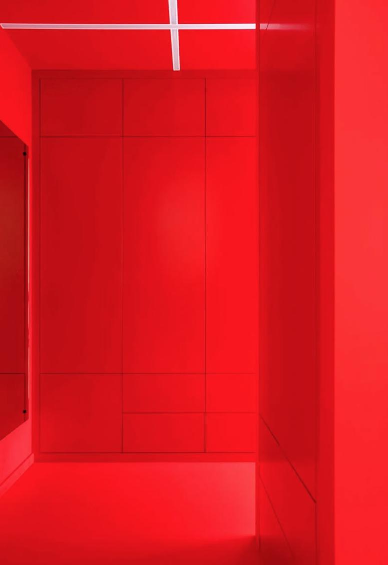 L'entrée est rouge vif, avec des unités de rangement élégantes et un grand miroir et des lumières intégrées