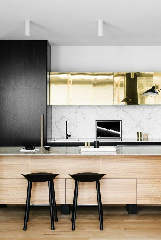 Décoration de cuisine glamour dorée