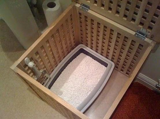 une petite table IKEA Hol avec une toilette pour chat à l'intérieur peut être placée n'importe où et votre chat sera caché