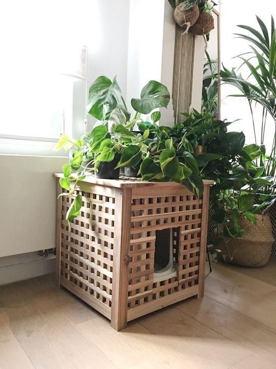 une table IKEA Hol utilisée à la fois comme toilette pour chat et comme support pour plantes - elle est très confortable et facile à pirater