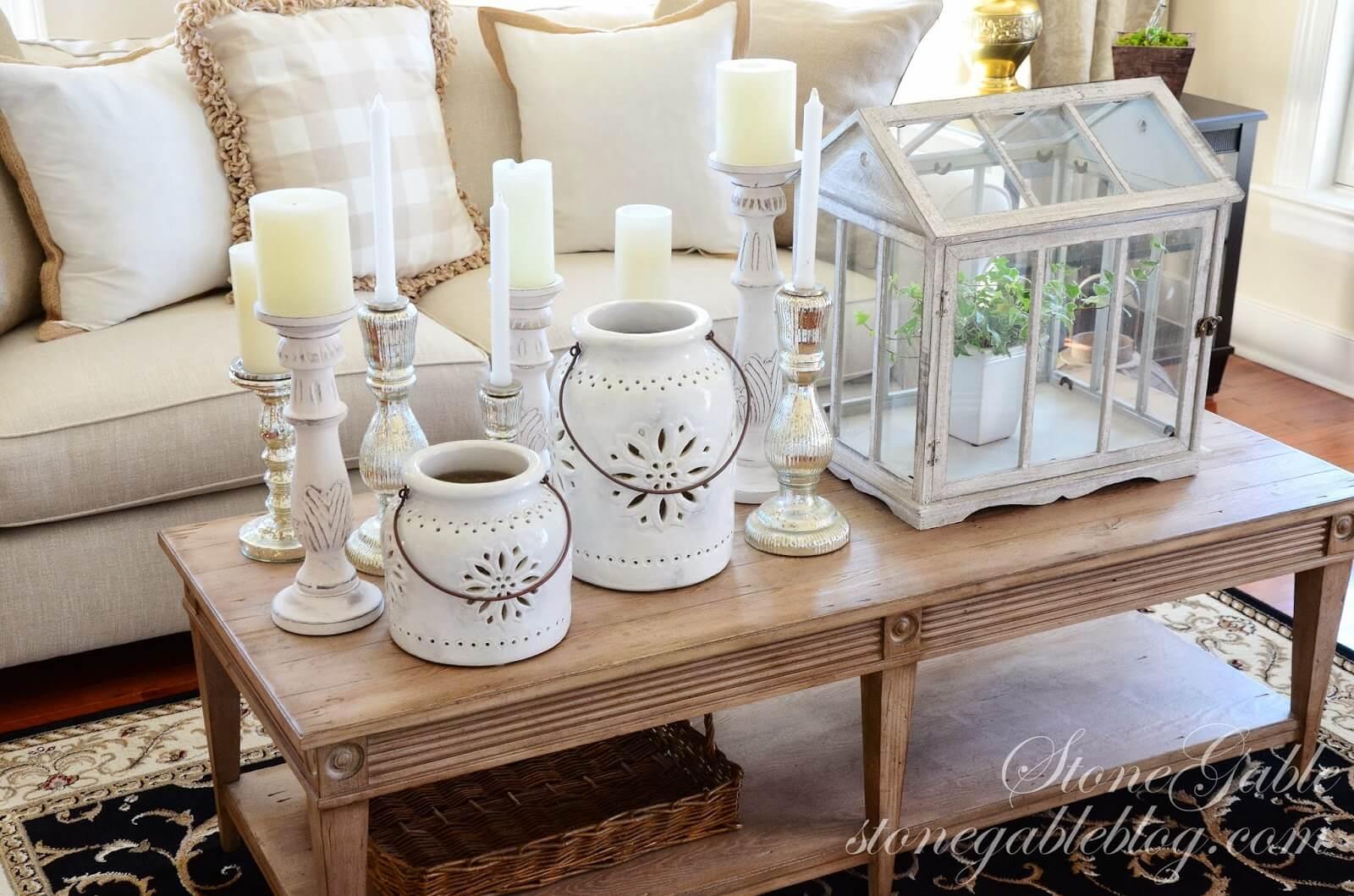 Terrarium à effet de serre victorien et présentoir de bougies dépareillés