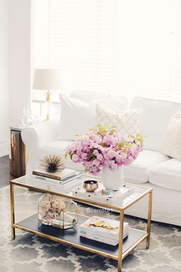 Présentoir de table basse à fleurs rétro Glam Gold et Glass