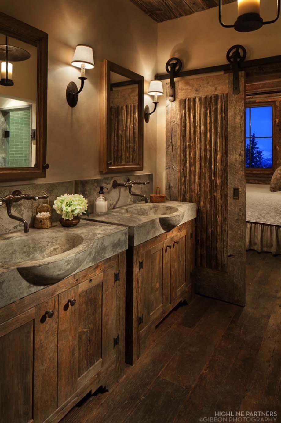 Portes de salle de bain coulissantes de style taverne
