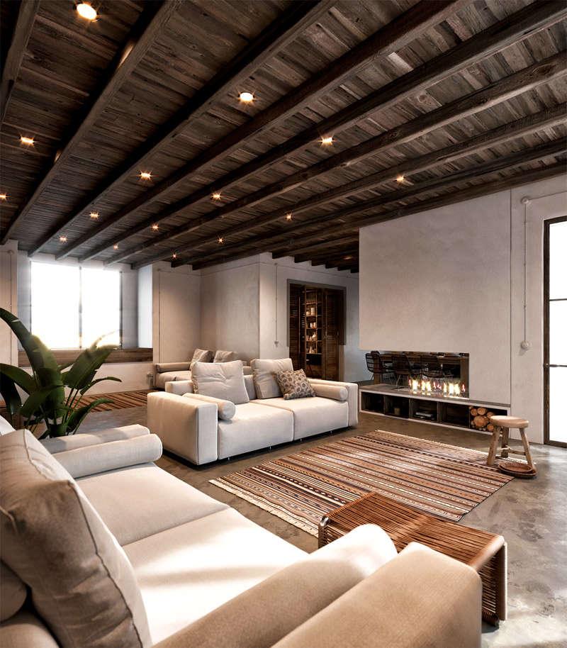 Plafond en bois et sol en béton poli dans une maison rustique