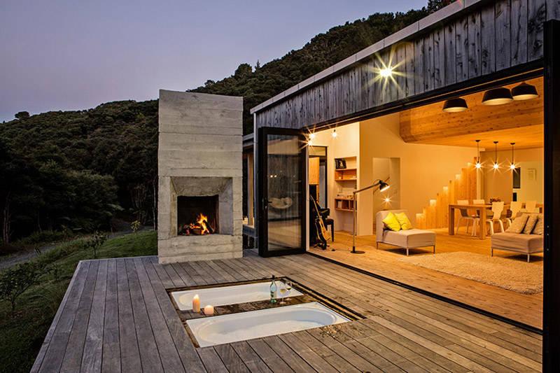 Terrasse dans une maison en bois de conception moderne