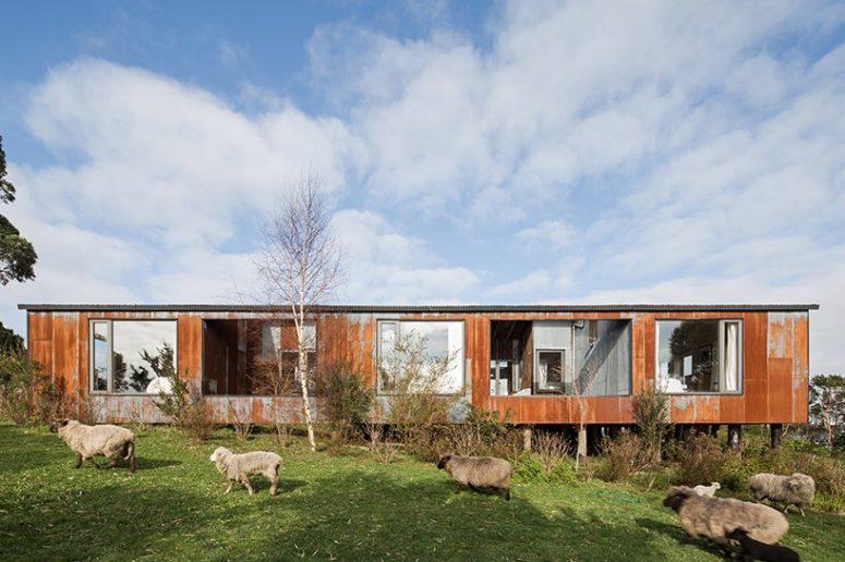 Comme il s'agit d'une île rurale, il y a beaucoup de fermes autour et la maison dispose de nombreuses fenêtres pour profiter de ces vues