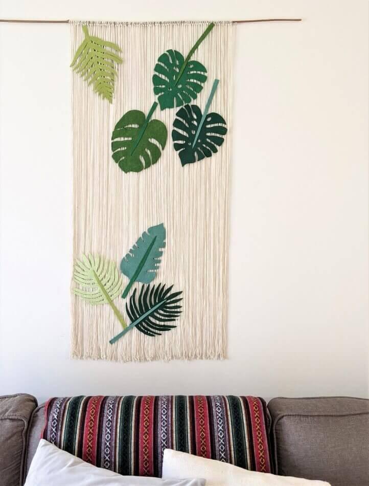Rideau en macramé avec des feuilles de feutre Art mural