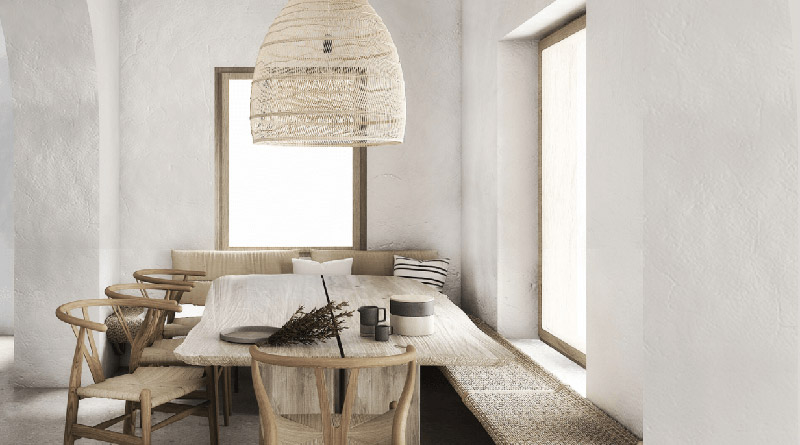 salle à manger décorée de meubles en bois et de lampes en osier