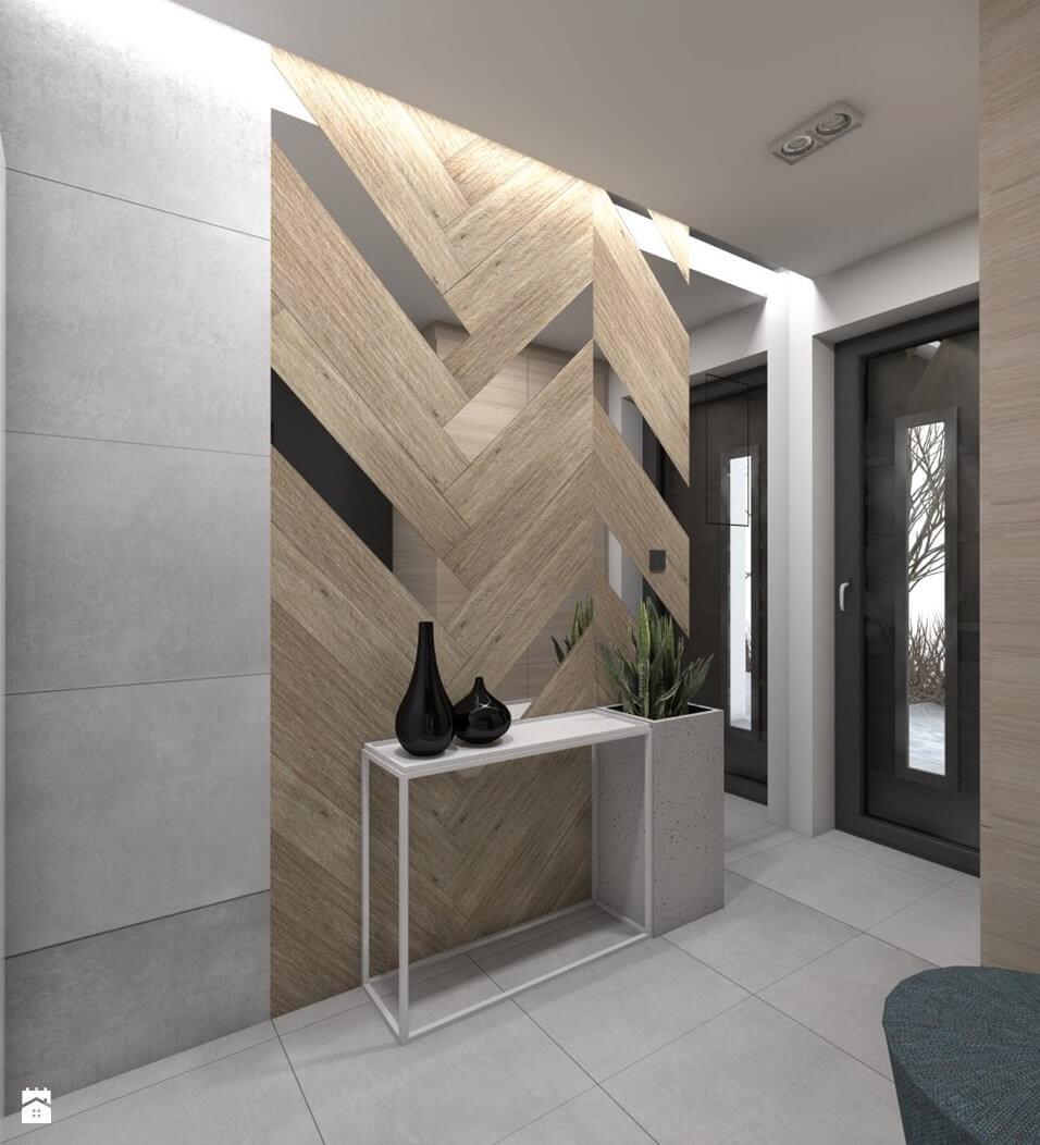 Mur en bois chevron contemporain et abstrait
