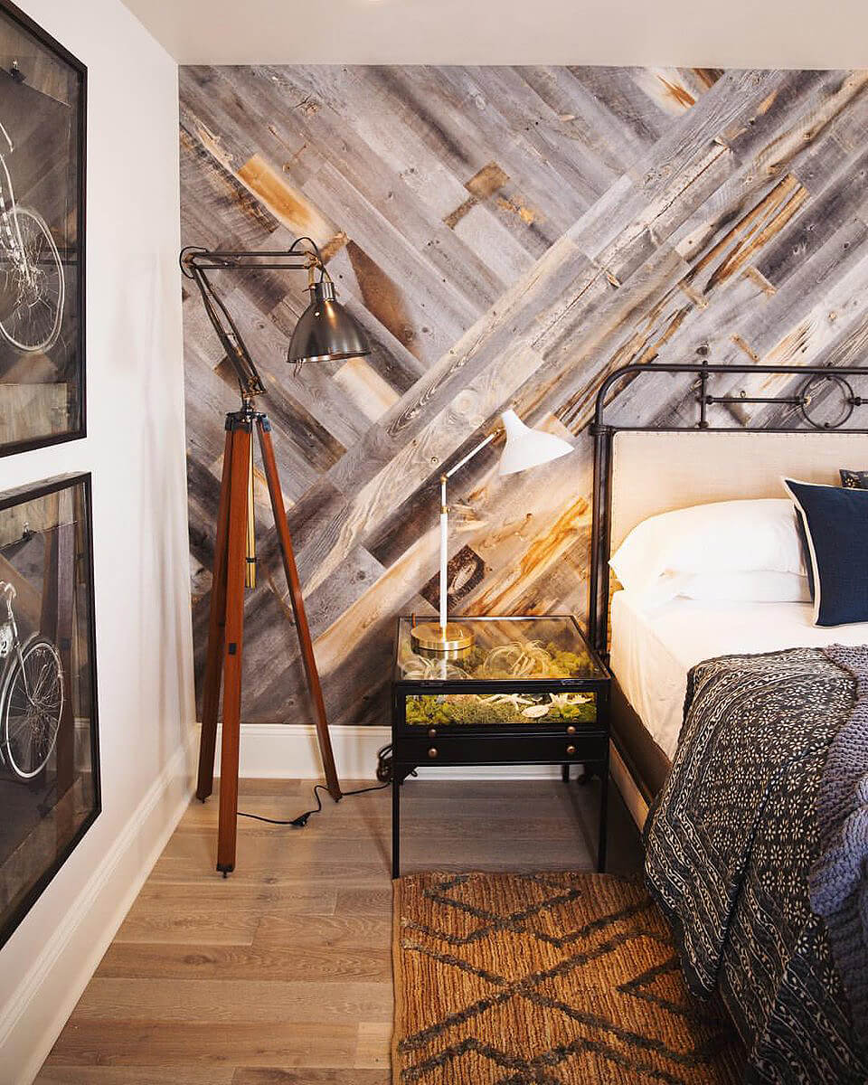 Mur de bois entrecroisé Hipster Vibes