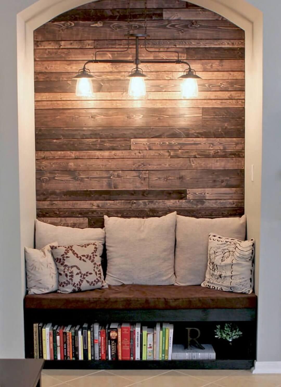 Mur en bois encastré à éclairage romantique