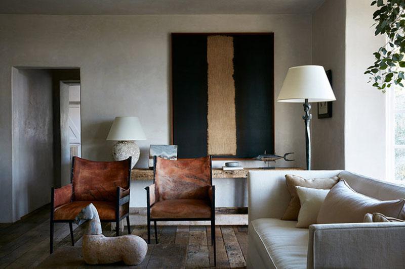 Salon de style rustique moderne