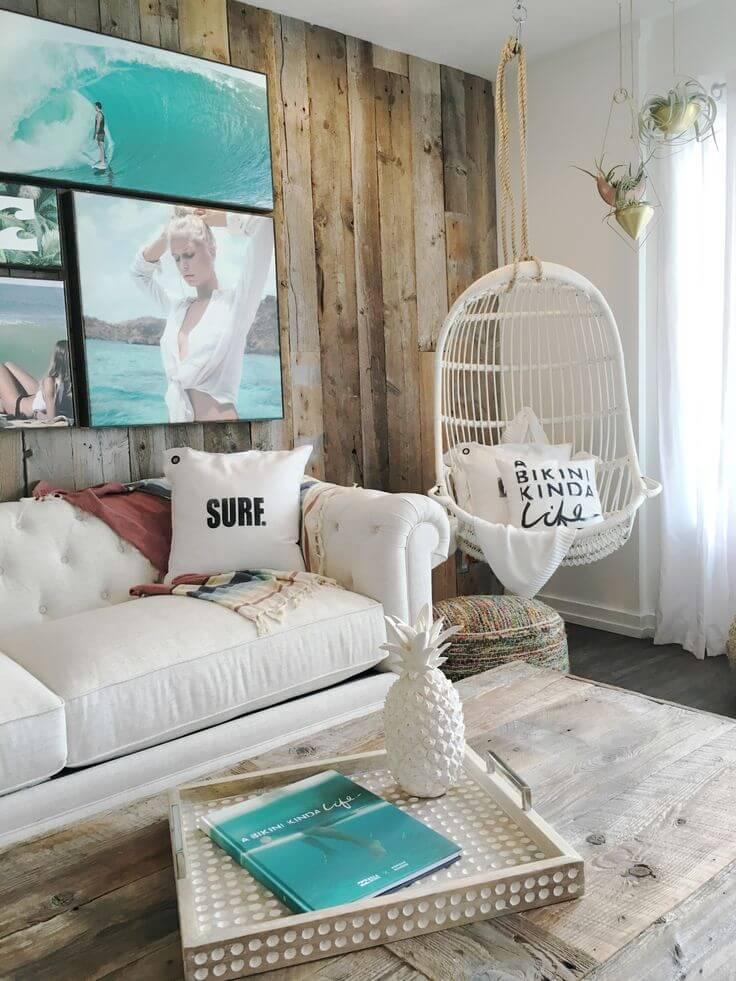 Inspirations de salon en bois et turquoise